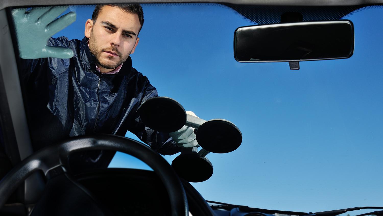 Auto Glass Technician Installing Windshield on Car in Scottsdale AZ